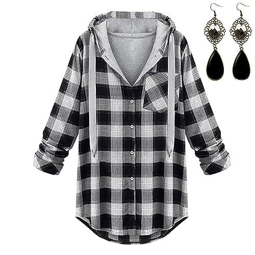 M-Queen Casual Clásico Sudaderas con capucha de Mujer Chaquetas a Cuadros Abrigo Hoodies Encapuchada Camisetas de Manga Larga Blusas para Primavera Otoño