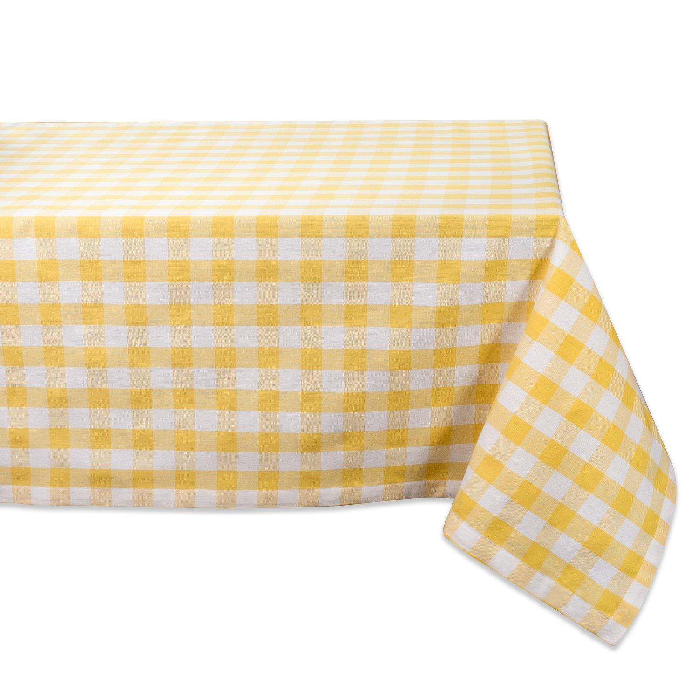 DII 52x52'' Square Cotton Tablecloth, Yellow & White Check - Perfect for Spring, Summer, Farmhouse Décor, Picnics & Potlucks or Everyday Use