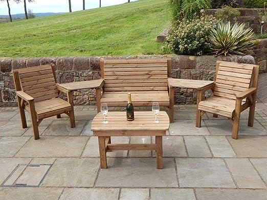 Juego completo en ángulo de madera muebles de jardín mesa de café 1 banco 2 sillas y 2 bandejas desmontable: Amazon.es: Jardín