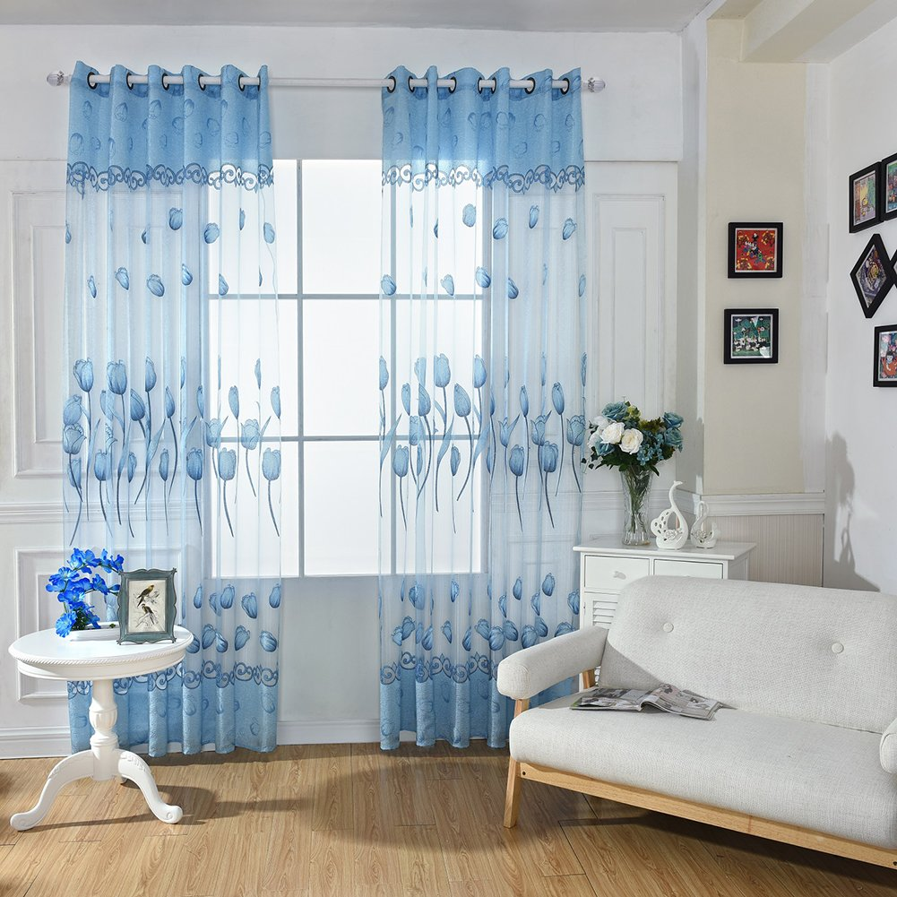 Peyan 1 Panel Tulips Curtain Screens Tulle Bronzing Flower Noble Modern Window Elegant Window Curtains Livingroom Case