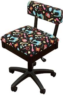 Beau Arrow Height Adjustable Hydraulic Sewing Chair   Black With Black Riley  Blake Fabric