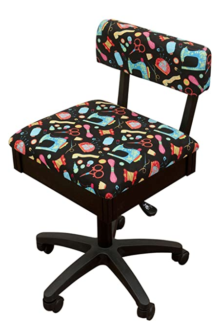 Arrow Height Adjustable Hydraulic Sewing Chair   Black With Black Riley  Blake Fabric