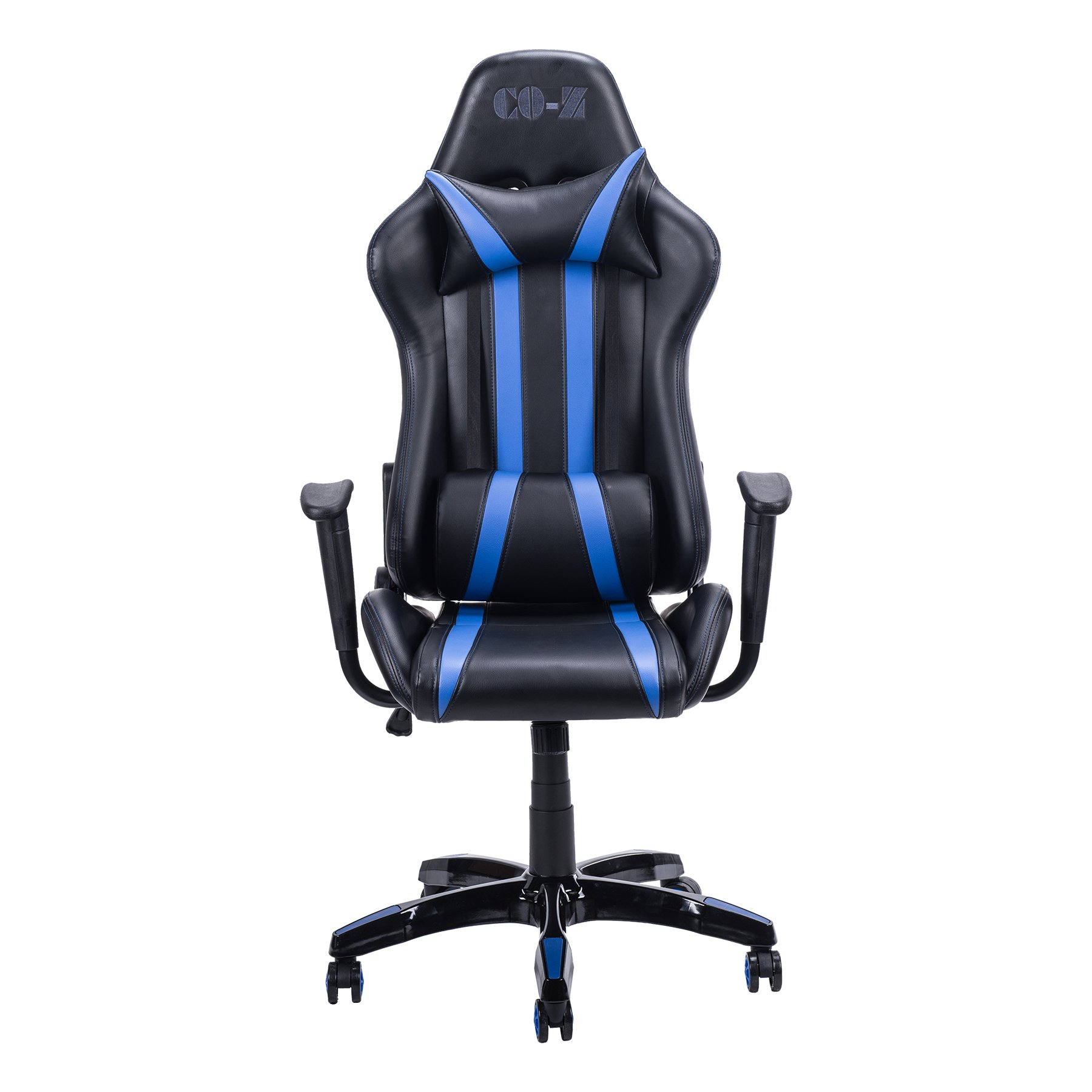 CO-Z Ergonomic PC Gaming Chair, High-back Comfortable Racing Style Executive Swivel Office Computer Desk Chair with Removable Lumbar Support and Headrest (Blue)