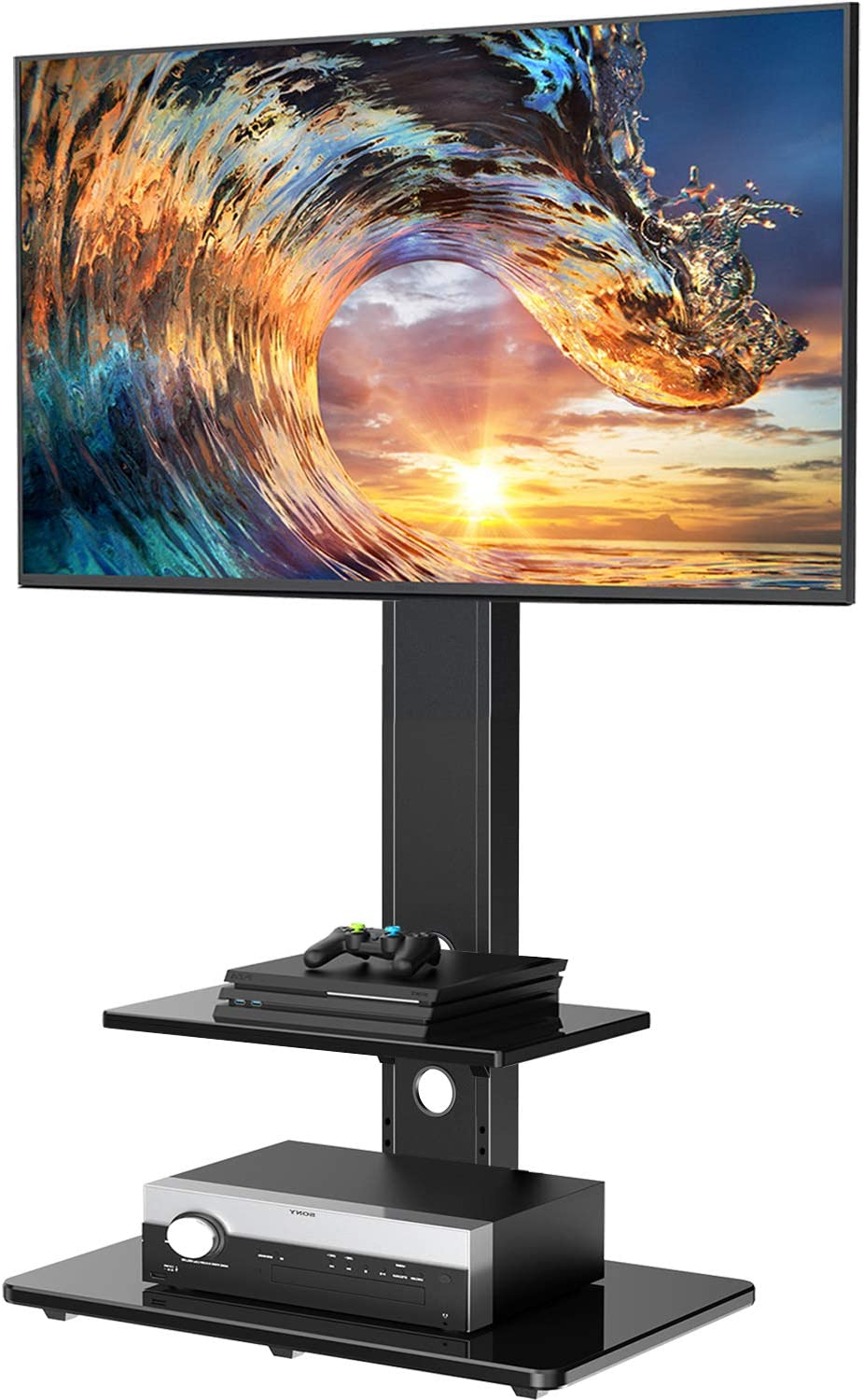 Rfiver Floor Corner 4-Shelf TV Stand Base with Swivel Mount for 32 to 55 Inch Flat Panel or Curved Screen TVs Height Adjustable Mounting Bracket Cable Management