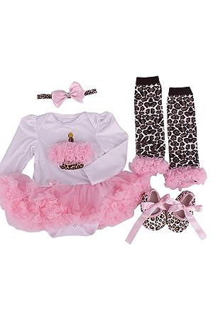 TOOGOO(R)4 piezas/ conjunto Recien nacido Leopardo rosa Mameluco de ...