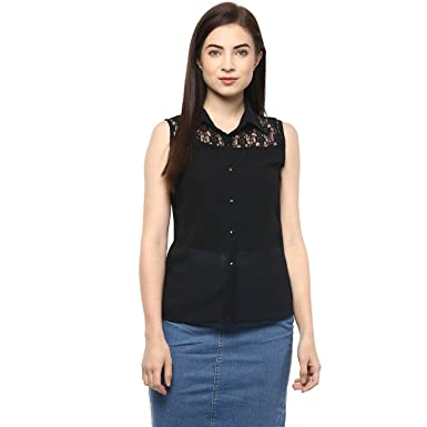 fb9926533fc8 Moderno™ Casual Net Yoke Collar Shirt sleeveless Black Color Georgette For  Women and Girls