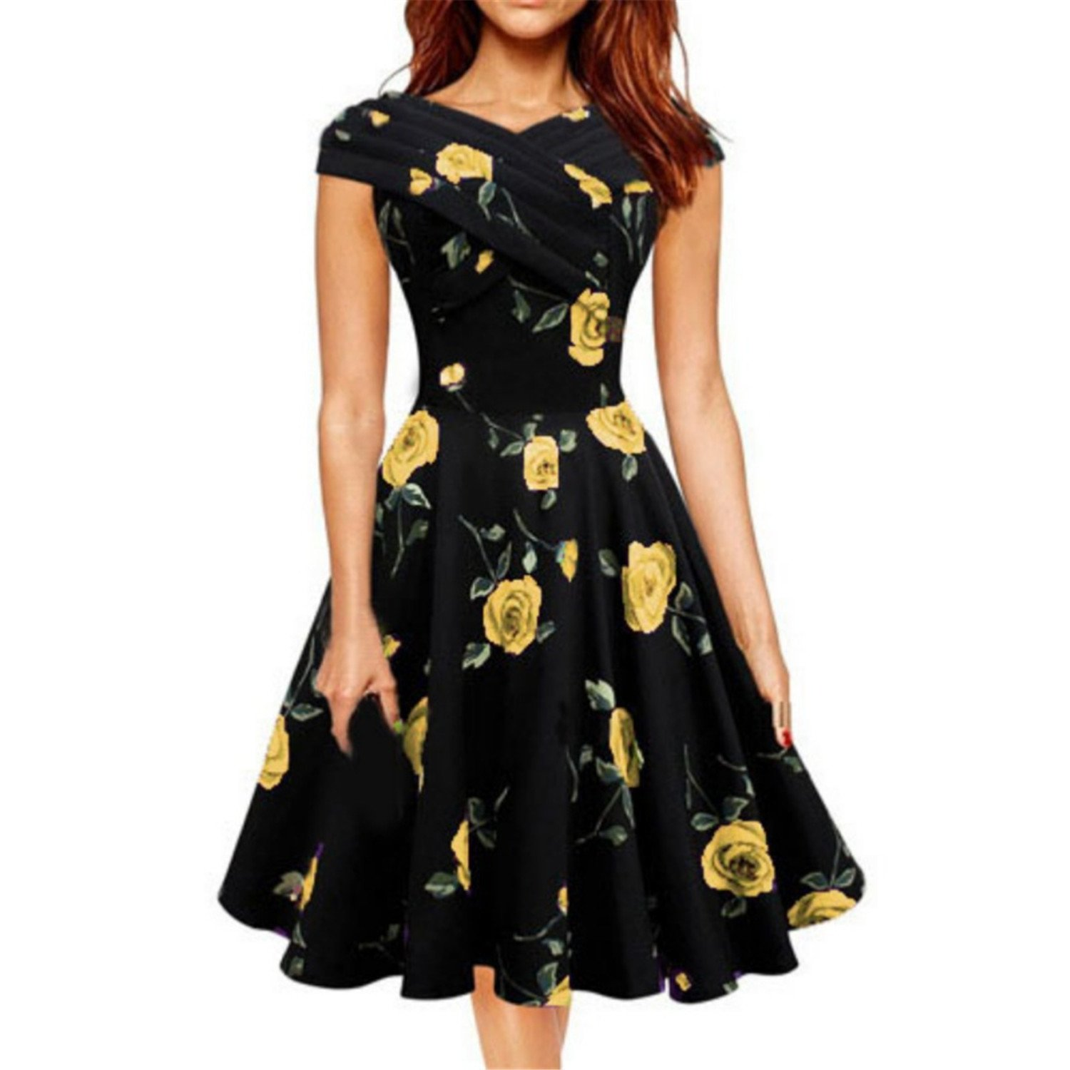 4a08fe67a7b9 Processes 2018 Rose Flower Print Vintage Mini Dress Formal A-Line Party  Casual Retro Dresses Summer Sundress at Amazon Women's Clothing store: