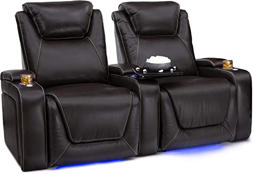 SoundShaker Row of 2 Black Seatcraft Pantheon Big /& Tall 400 lbs Capacity Home Theater Seating Leather Power Recline with Adjustable Powered Headrest and Lumbar Support and Lighted Cup Holders