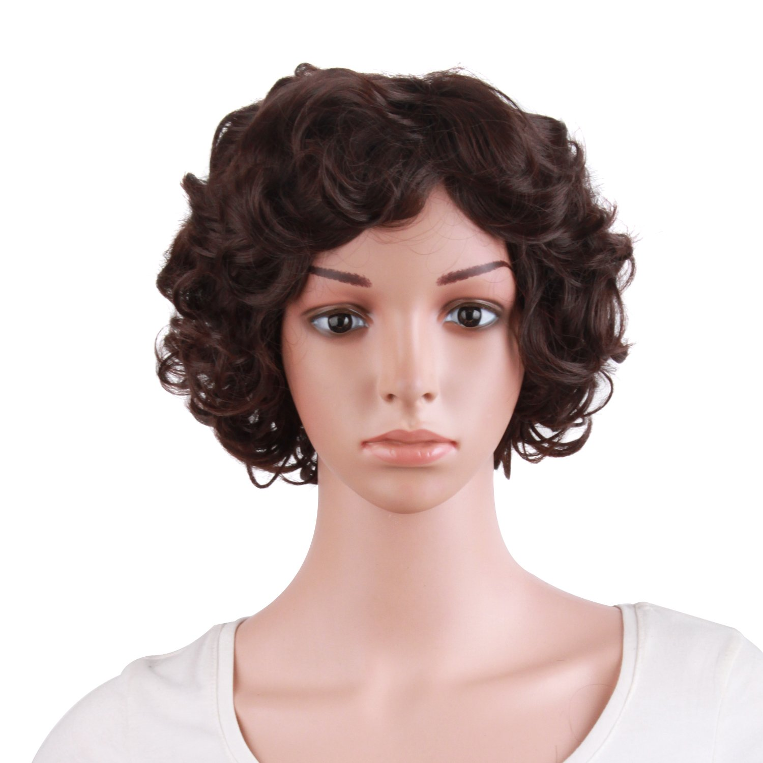 MapofBeauty 10 Inch/25cm Special Elderly Short Curly Fashion Wigs(Dark Brown) by MapofBeauty