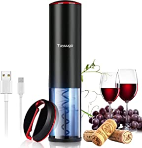 Electric Wine Opener, Toyuugo Fully Automatic Corkscrew Rechargeable Auto-sensing Wine Bottle Opener Set with Wine Foil Cutter,The Best Gift for Wine Lovers