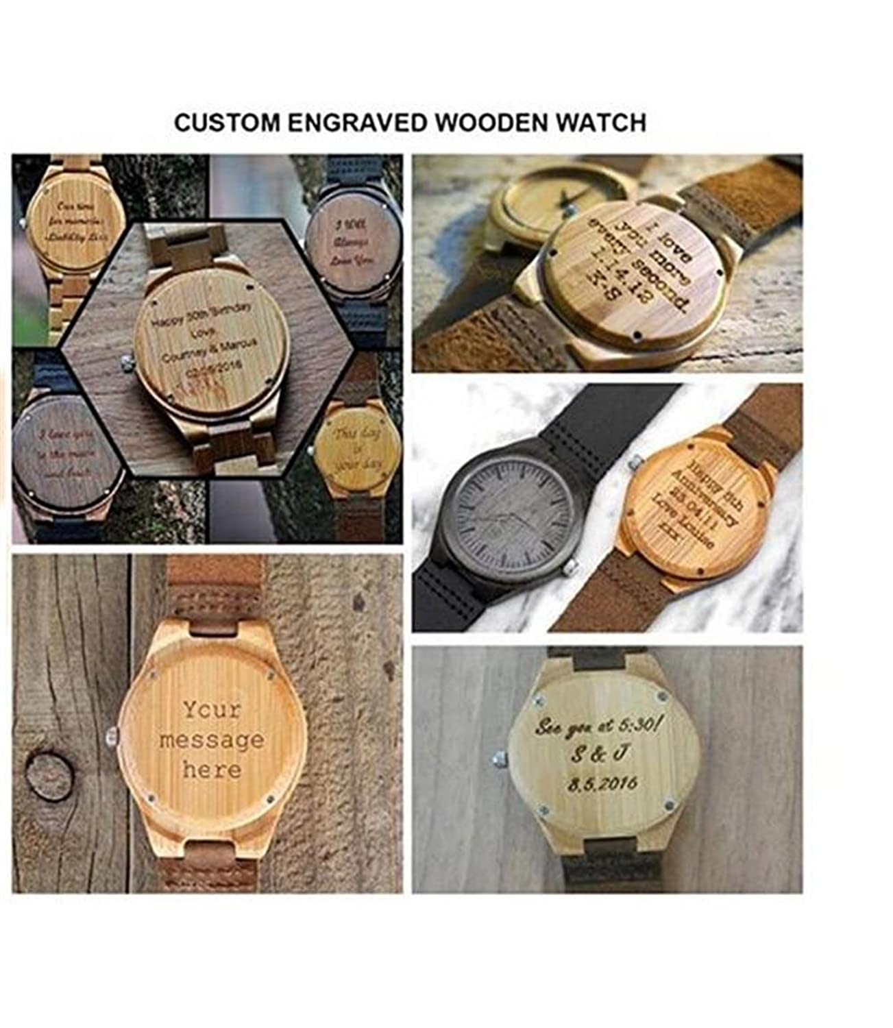 wood engraved watch personalized anniversary