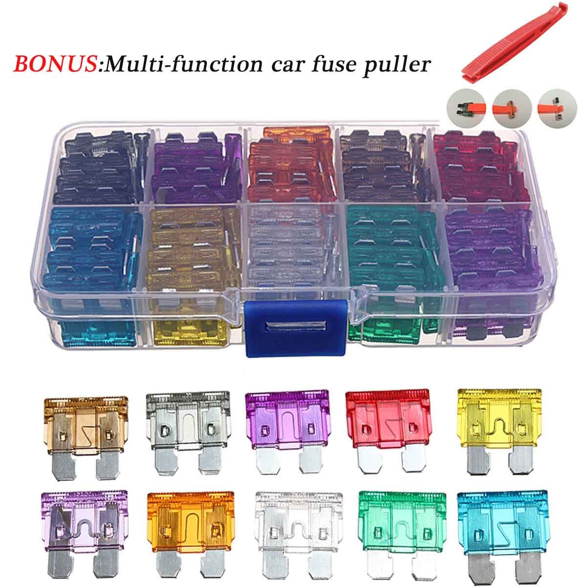 100 Pcs Assorted Auto Car Trunk Standard Blade Fuse 2,3,5,7.5