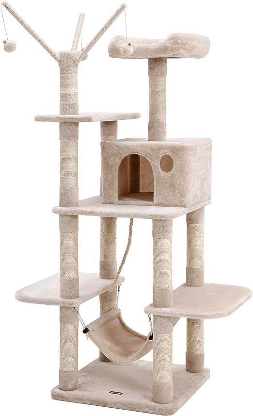 FEANDREA Árbol para Gatos, Rascador con Nidos, Hamaca, Plataformas y Bolas de Juego, 154 cm, Colores Opcionales, Beige PCT86M: Amazon.es: Productos para mascotas
