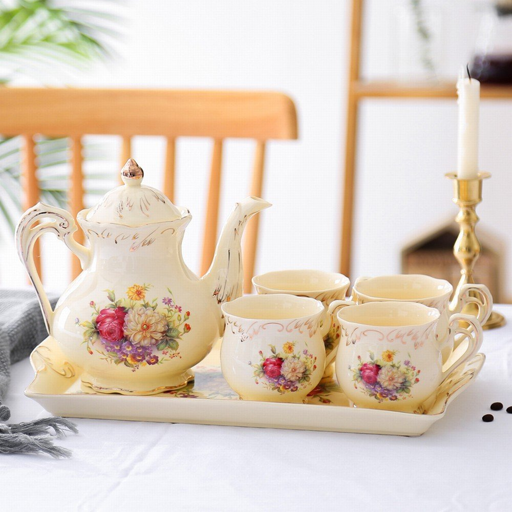 DHG English Afternoon Tea Set Tea Cup Ceramic Cup Household Coffee Cup Set Continental Cup Set,A