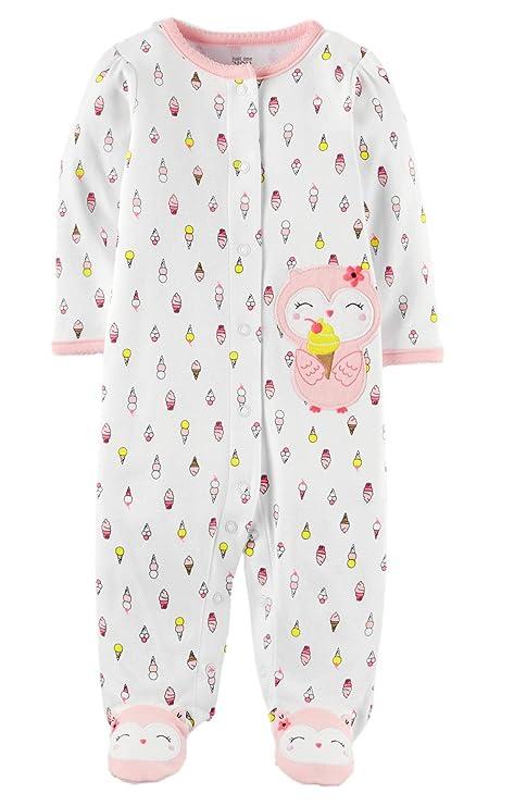 7951c6430883 Amazon.com  Carter s Just One You Baby Girls Owl Ice Cream Cotton Sleep N  Play (White Multi