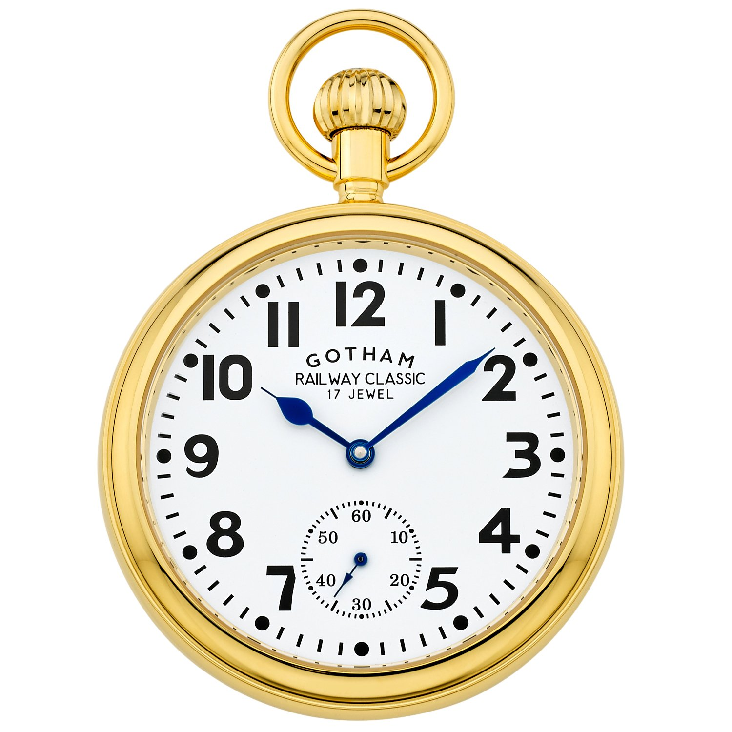 Gotham Men's Gold-Tone Mechanical Hand Wind Railroad Pocket Watch # GWC14104G