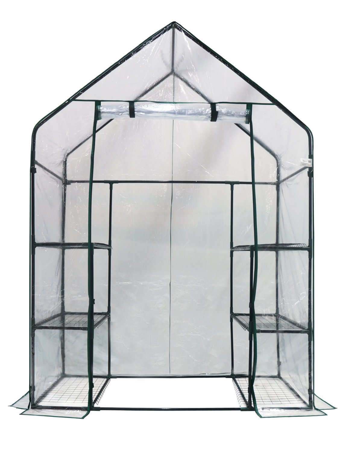Happy Planter Walk-in 3 Tiers 6 Shelves Portable Greenhouse, 56'' x 29'' x 77''