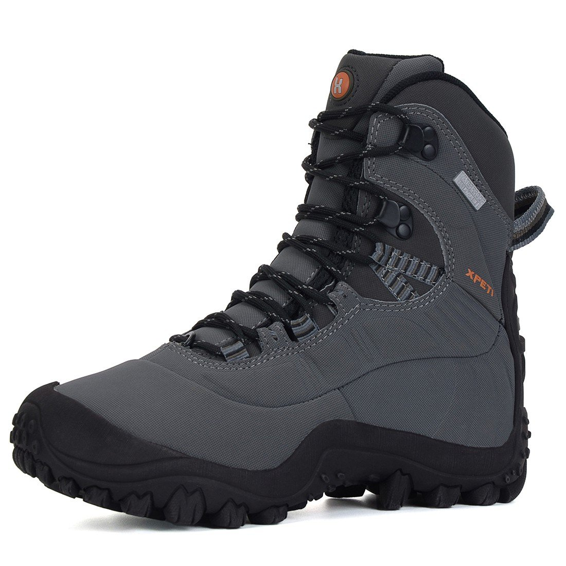 XPETI Women's Waterproof Mid High-Top Hiking Outdoor Boot Light Grey 8