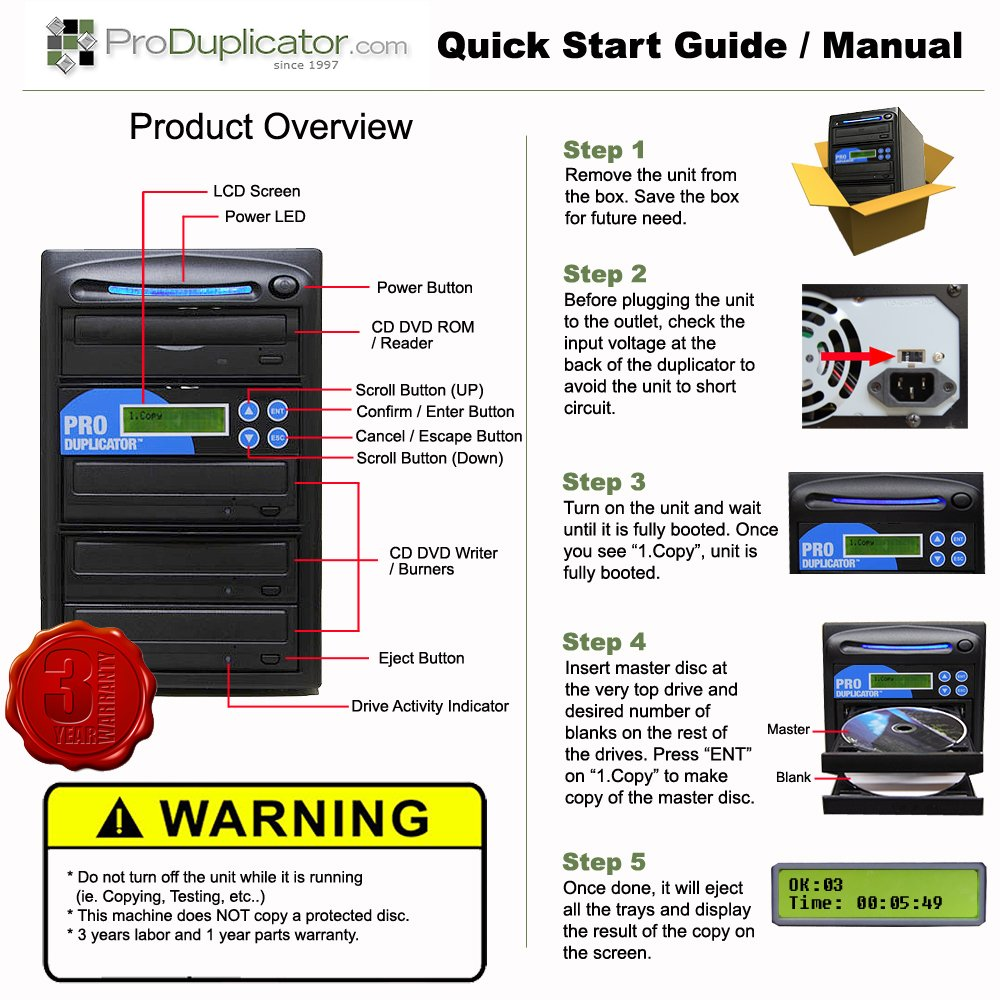Produplicator 1 to 5 24X CD DVD Duplicator Copier (M-Disc Support Burner) with Nero Essentials CD/DVD Burning Software (Standalone Duplication Tower)