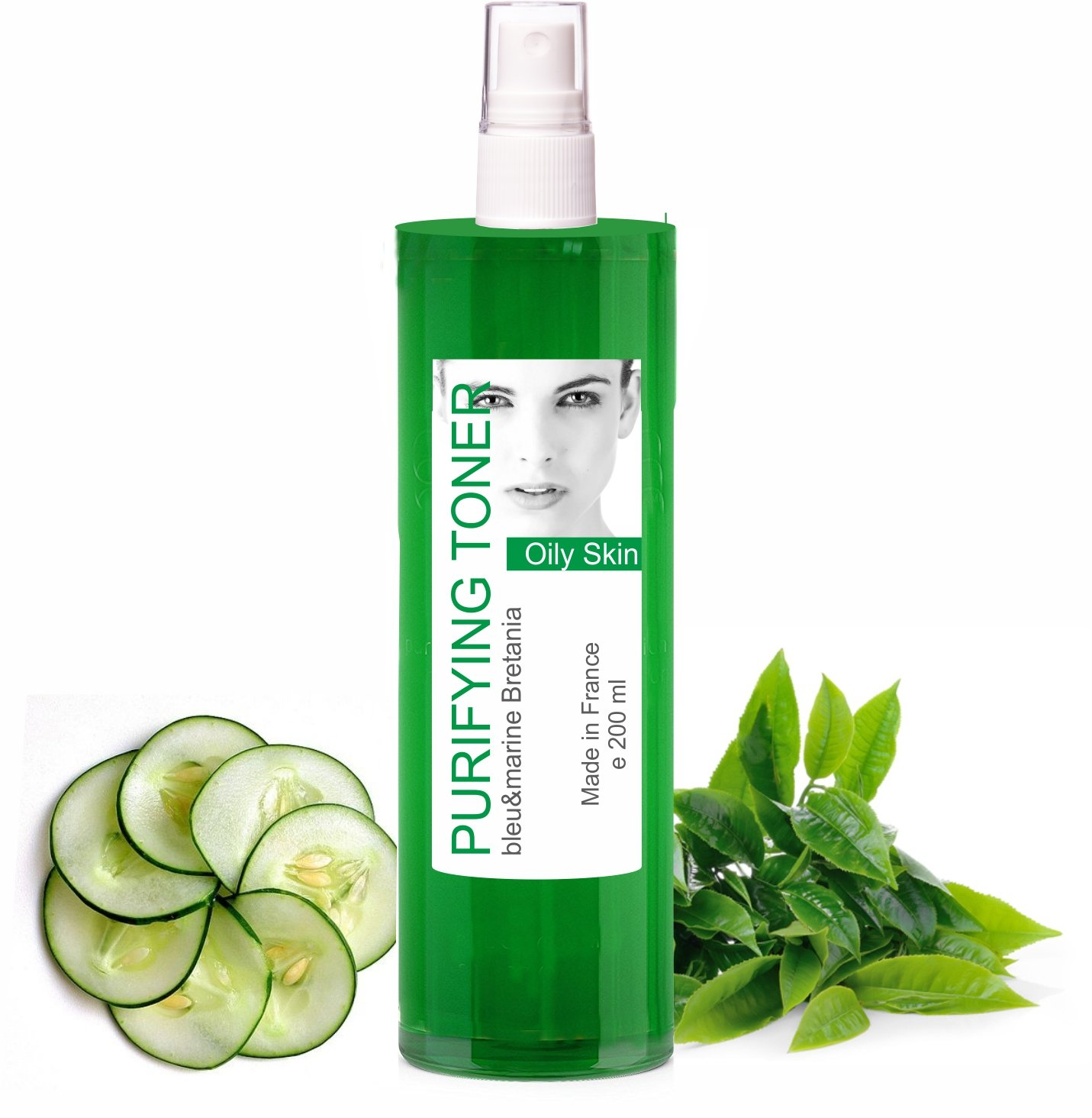 Green Tea Oily Skin Anti Blemishes Purifying Facial Toner 200 ml Mist - Alcohol free Tonic Lotion Made in France by bleu&marine Bretania