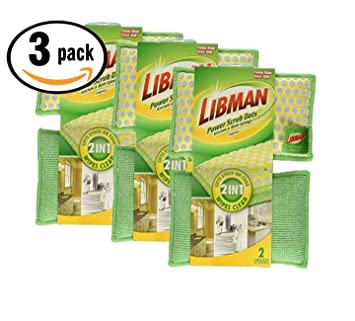 Amazon.com: Pack of 3, Libman Power Scrub Dots Kitchen and Bath ...