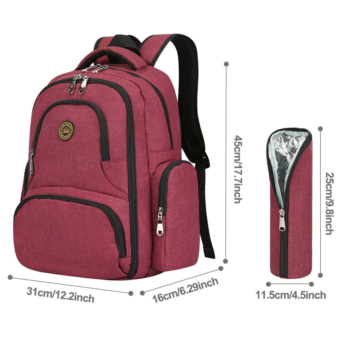 S-ZONE 16 Pockets Baby Diaper Bag Organizer Water Resistant Oxford Fabric Travel Backpack with Changing Pad and Stroller Straps (Wine Red-with Insulated Sleeve) S-ZONE D04V816F