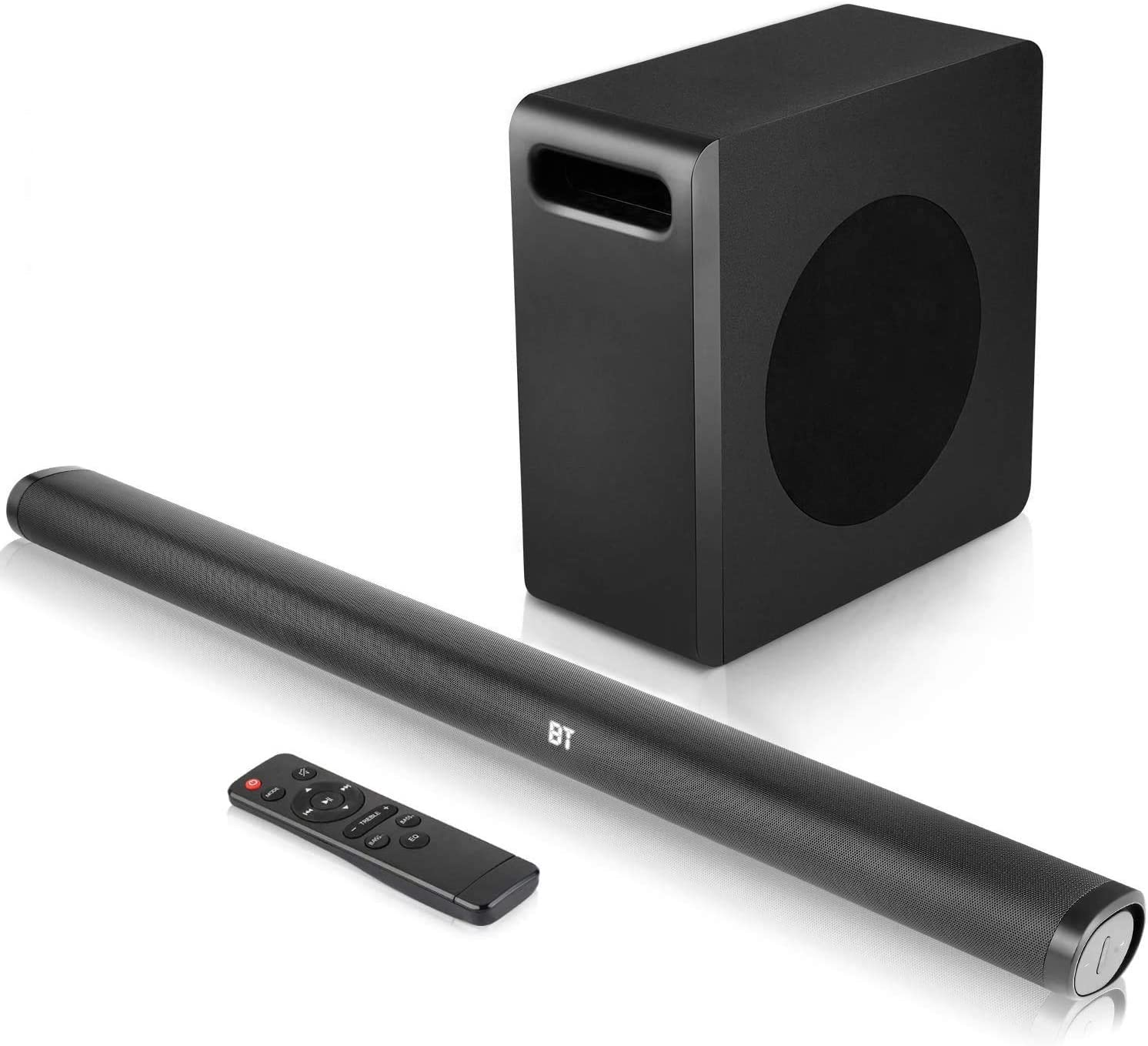 Sound Bar with Subwoofer, 140w TV 2.1 CH Soundbar, Superior Surround Sound System, Works with 4K & HD & Smart TV,Bluetooth 5.0 Enabled