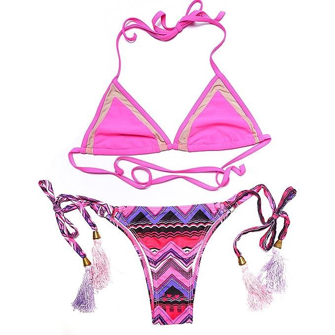 f9f685f90086b Bikini Damen Blumen Drucken Bikini Fimbriate Bandage Badeanzug: Amazon.de:  Bekleidung
