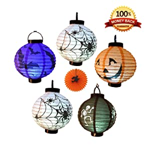 EverKid Halloween Decorations Paper Lanterns with LED Light, pack of 5 - Skeleton,Bats,Jack-O,Spiders