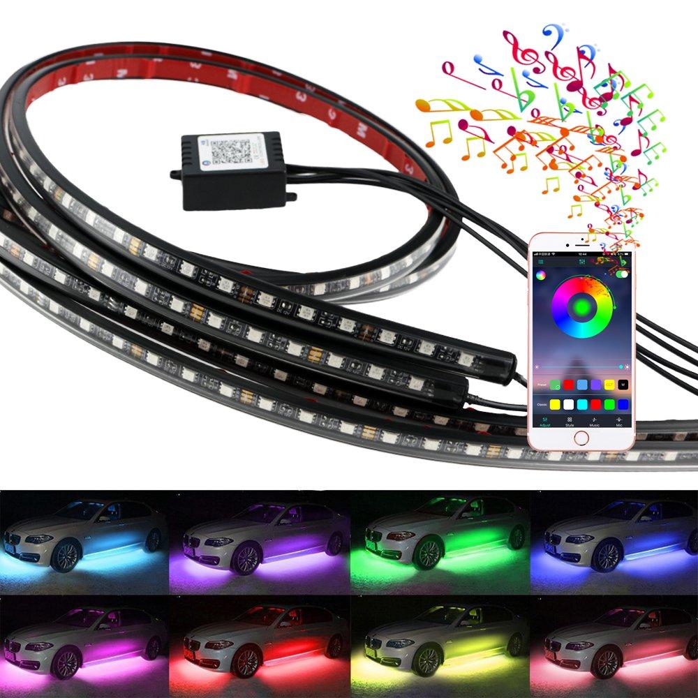 4PCS APP Control Car Flexible 180 LED Strip Decorative Atmosphere Light Neon Car Underglow Kit Underbody Lights TTqp