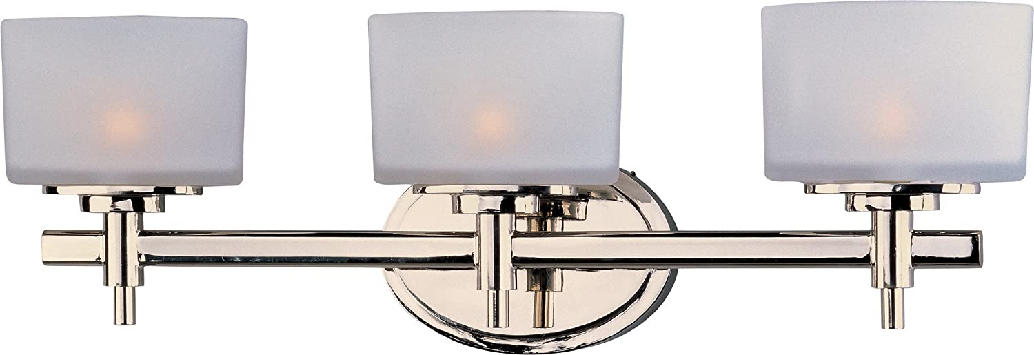 Maxim 9023SWPN Lola 3-Light Bath Vanity, Polished Nickel Finish, Satin White Glass, G9 Frost Xenon Xenon Bulb , 100W Max., Dry Safety Rating, 2700K Color Temp, Standard Dimmable, Glass Shade Material, 1150 Rated Lumens