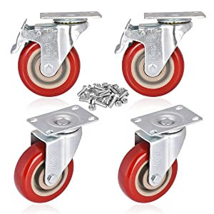 """Moogiitools 4"""" Swivel Rubber Caster Wheels with Safety Dual Locking Heavy Duty 1400lbs Casters Set of 4 (Half with Brake)"""