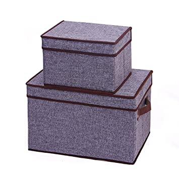 Beau Amazon.com : Generic Collapsible Storage Box, Canvas Organizer Clothing  Storage Bins Cubes Containers With Lids (Set Of 2) (gray) : Baby