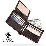 Gracosy RFID Portafoglio uomo in pelle, Portafoglio con RFID protezione carte di credito Carta Porta Portamonete Portafoglio monete tasca Caso di carte con cerniera
