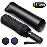 Bodyguard 12 Ribs Windproof Travel Umbrella with Teflon Canopy, Lengthened Handle with Auto Open Close Button, Compact Protection from Rain, Free Upscale Leather Cover