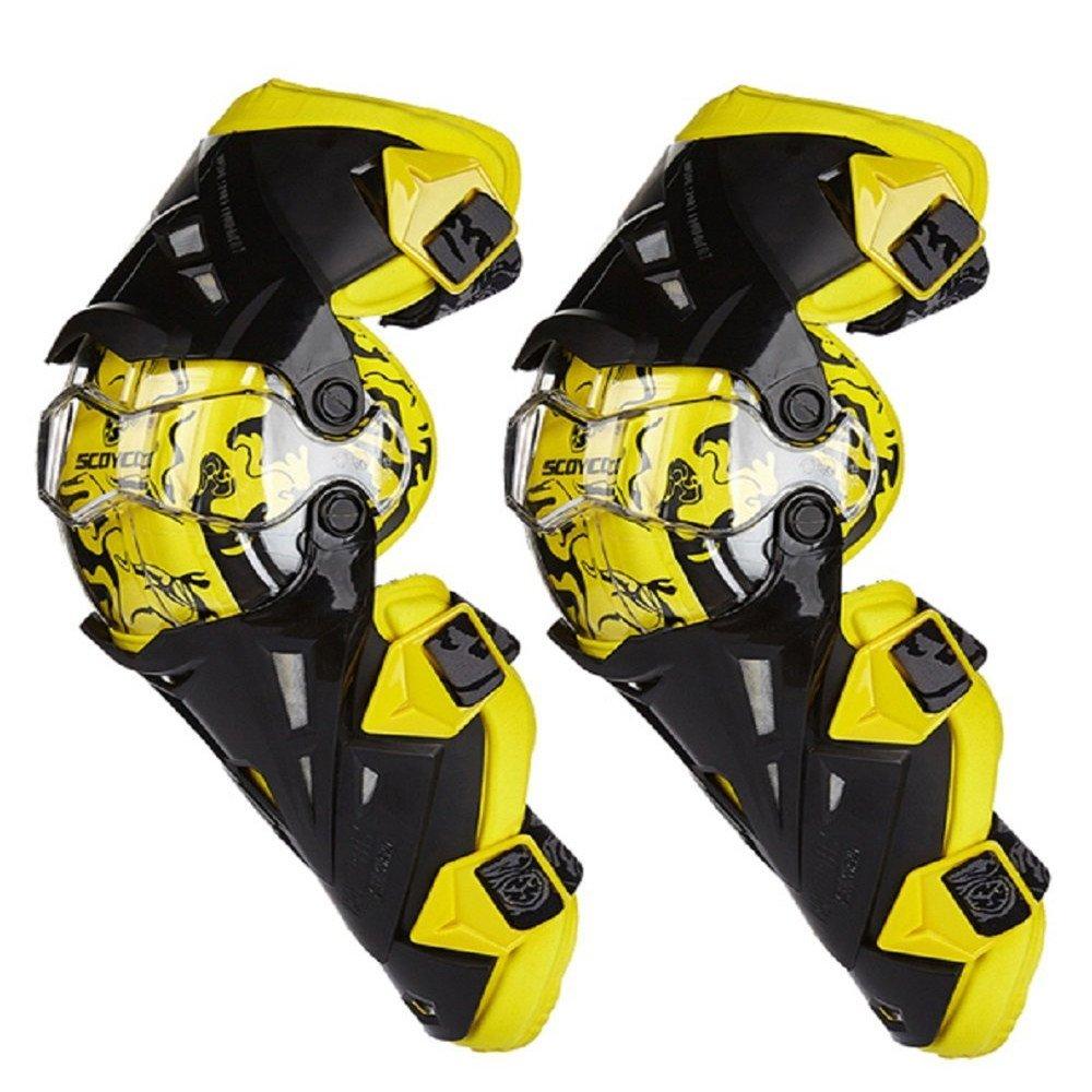 膝パッド、調整可能なロングレッグスリーブギアクラッシュプルーフアンチスリップオートバイマウンテンバイク1ペアのための保護警備員 黄