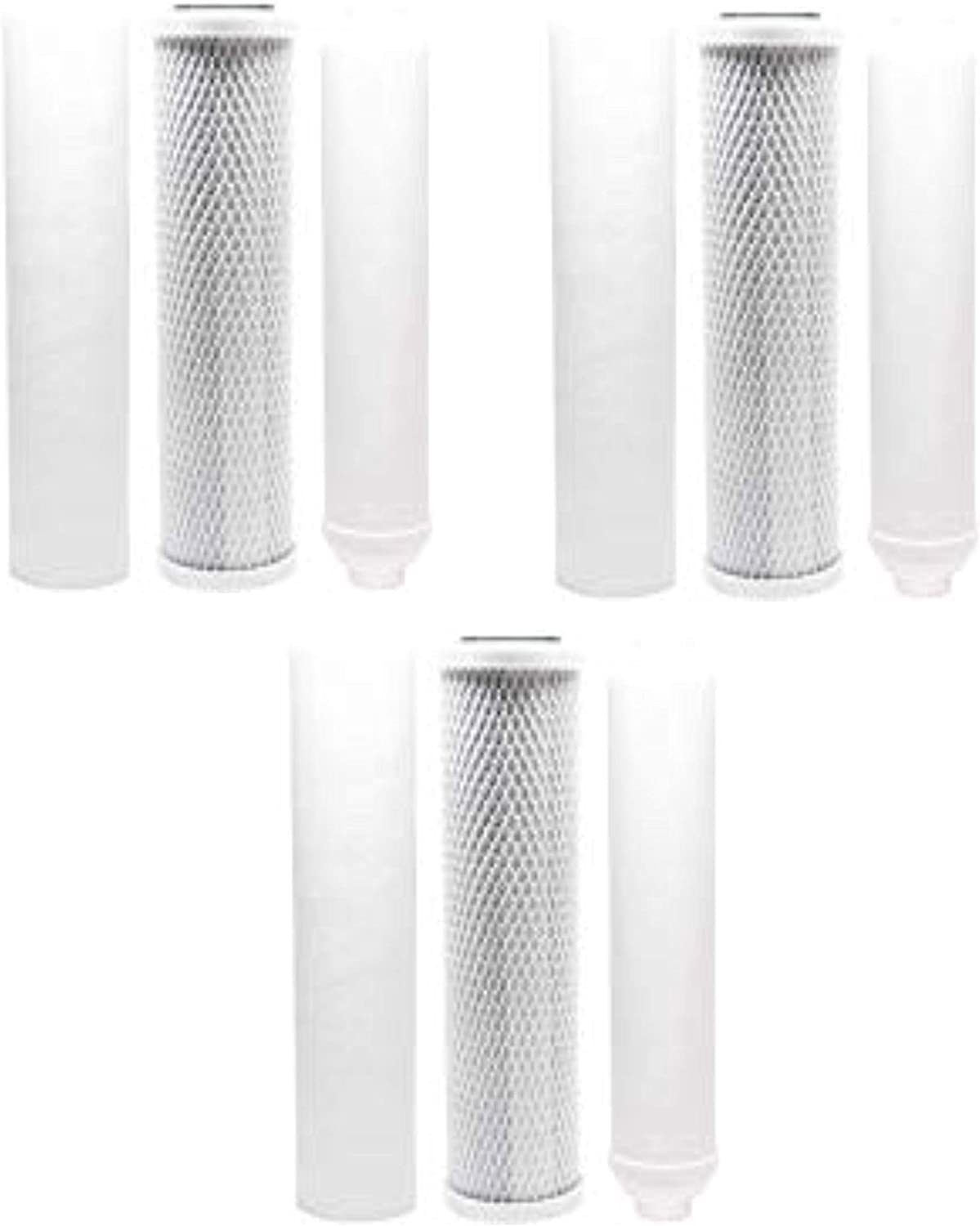Replacement Filter Kit Compatible with Rainsoft 9596 RO System Includes Carbon Block Filter PP Sediment Filter /& Inline Filter Cartridge Denali Pure Brand
