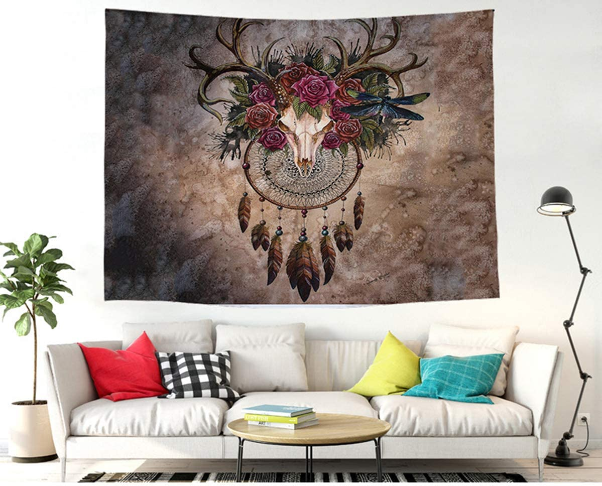 Felu-Home Dreamcatcher Decor Tapestry,Deer Skull Dreamcatcher, Bohemian Mandala Throw Tapestry Wall Hanging for Living Room Bedroom Dorm 78