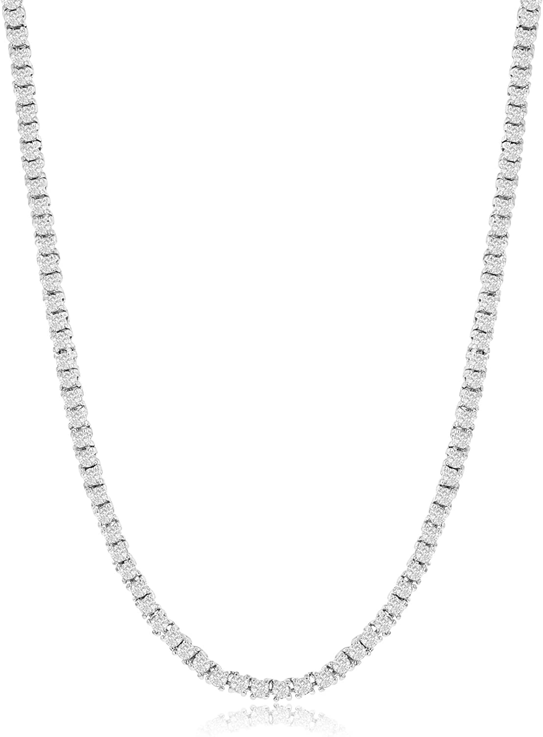 NYC Sterling Women's Magnificent 2mm Round Cubic Zirconia Tennis Necklace