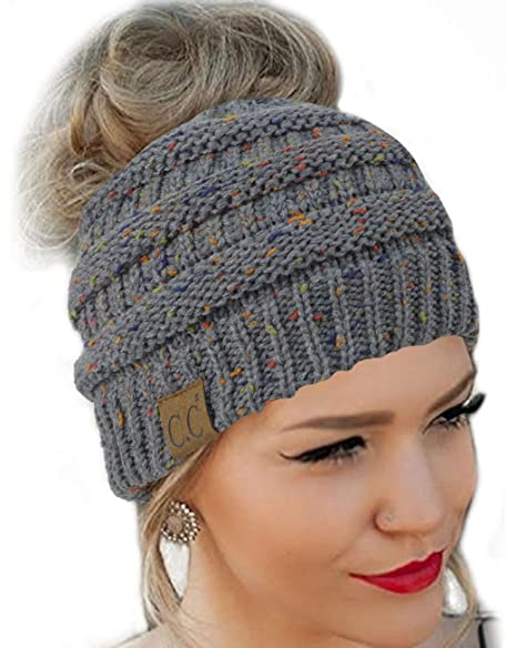 14d6628b9 Messy Bun Hat Beanie CC Quality Knit (Dark Melange Grey Flecked)