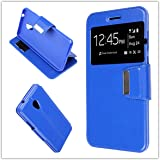 MISEMIYA - Custodia Cover per Meizu M5s - Custodia, Cover VIEW Supporto,blu