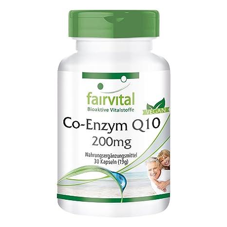 Co-enzima Q10 cápsulas 200mg - VEGANO - Altamente dosificado - 30 cápsulas ubiquinona - ¡Calidad Alemana garantizada!