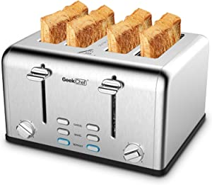 Toaster 4 Slice, Geek Chef Stainless Steel Extra-Wide Slot Toaster with Dual Control Panels of Bagel/Defrost/Cancel Function, 6 Toasting Bread Shade Settings, Removable Crumb Trays, Auto Pop-Up(sliver)