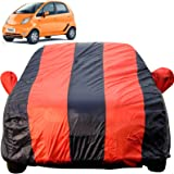 Autofact Car Body Cover for Tata Nano (Mirror Pocket Fabric, Triple Stiched, Fully Elastic, Red/Blue Color)