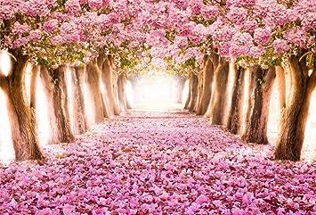 SZZWY 10x7ft Spring Cherry Blossom Backdrop Sweet Sakura Flower Tree Photography Background Wedding Floral Petal Boulevard Photo Studio Props Girl Bride Woman Lady Mother Artistic Portrait Wallpaper