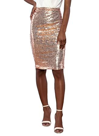 0839d88229d9 Ecrocoo Womens High Waist Bodycon Shiny Bling Sequin Skirt(S-XL) at Amazon  Women's Clothing store:
