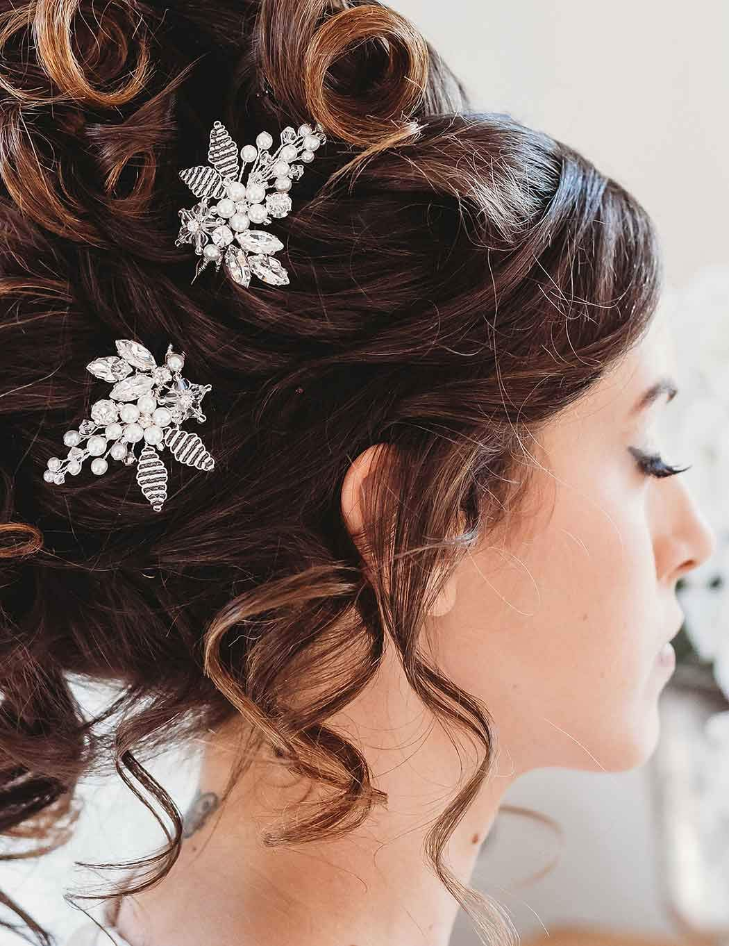 Barogirl Bride Wedding Hair Pins Crystal Silver Bridal Hair Clip Accessories For Women And Girls Set Of 2