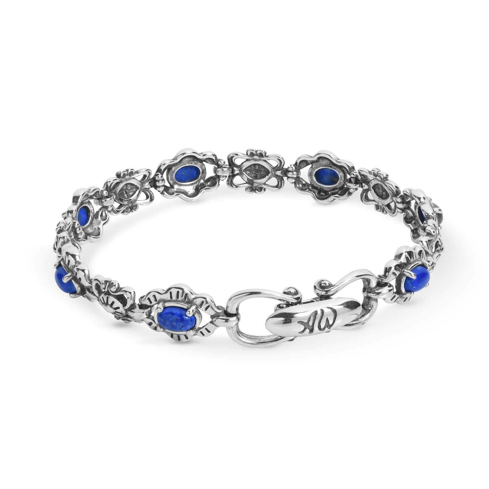 American West Sterling Silver Blue Denim Lapis Gemstone Link Bracelet Size Large
