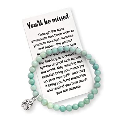 d75492f7e839 Amazon.com  Coworker Leaving Gift for Women - Farewell Bracelet with  Message Card   Gift Box  Jewelry