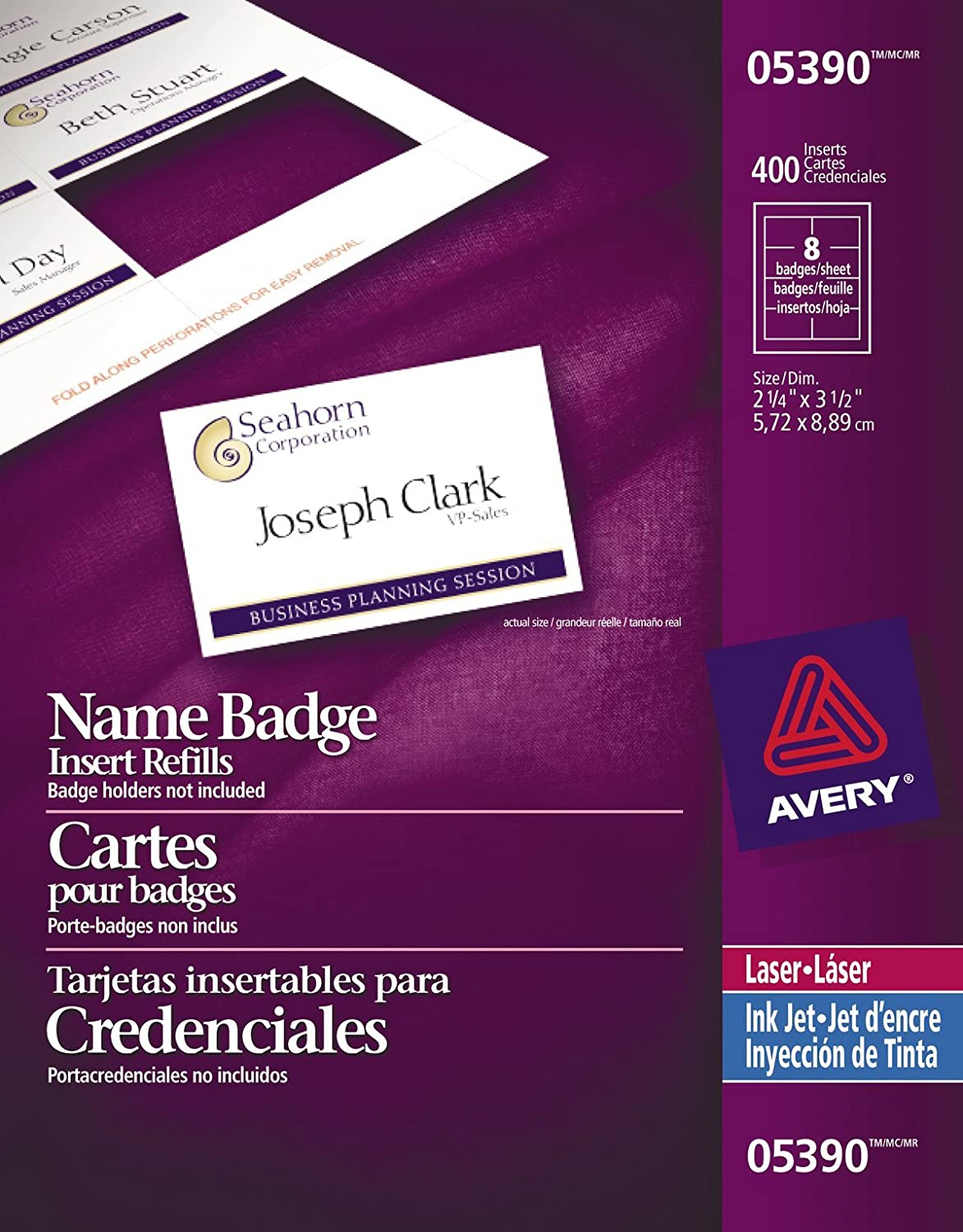 Avery Name Badge Inserts for Laser and Inkjet Printers, 2-1/4 x 3-1/2, White, 400 Pack (5390) 2-1/4 x 3-1/2 Avery Dennison CA